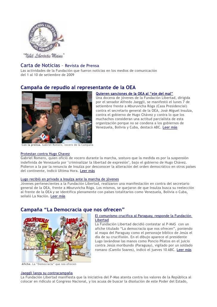Fundación Libertad Carta De Noticias 1 Al 10 Setiembre
