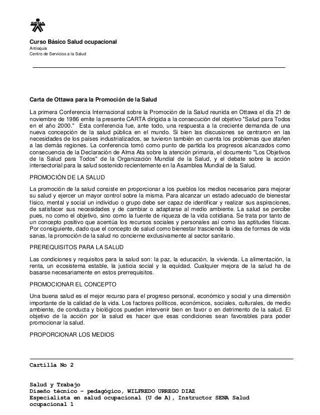 Curso Básico Salud ocupacional Antioquia Centro de Servicios a la Salud Cartilla No 2 Salud y Trabajo Diseño técnico – ped...