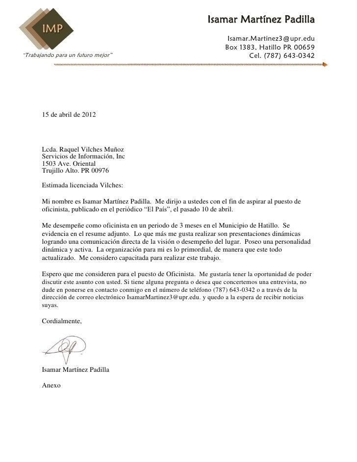 Carta de presentaci n for Que es un oficinista