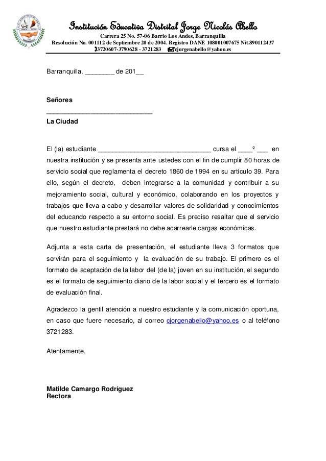 Formato carta de presentaci n estudiantes trabajo social for Ina virtual de empleo