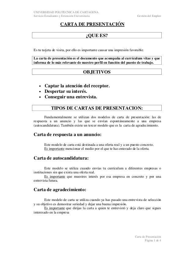 UNIVERSIDAD POLITECNICA DE CARTAGENA Servicio Estudiantes y Extensión Universitaria  Gestión del Empleo  CARTA DE PRESENTA...