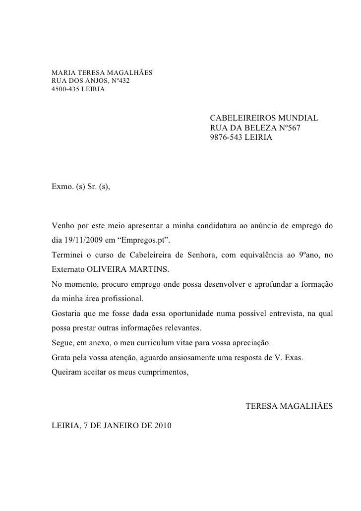Carta de apresentacao de emprego