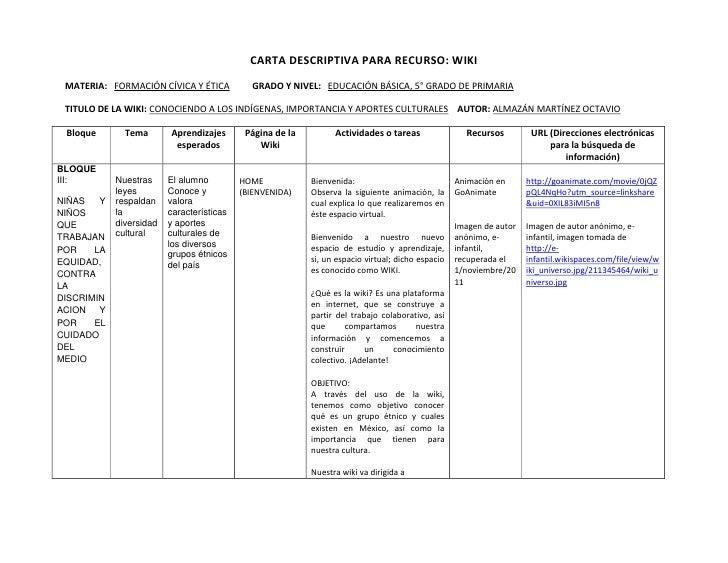 CARTA DESCRIPTIVA PARA RECURSO: WIKI MATERIA: FORMACIÓN CÍVICA Y ÉTICA           GRADO Y NIVEL: EDUCACIÓN BÁSICA, 5° GRADO...