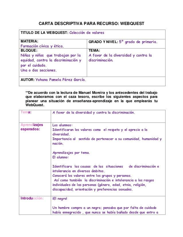 CARTA DESCRIPTIVA PARA RECURSO: WEBQUESTTITULO DE LA WEBQUEST: Colección de valoresMATERIA:                               ...