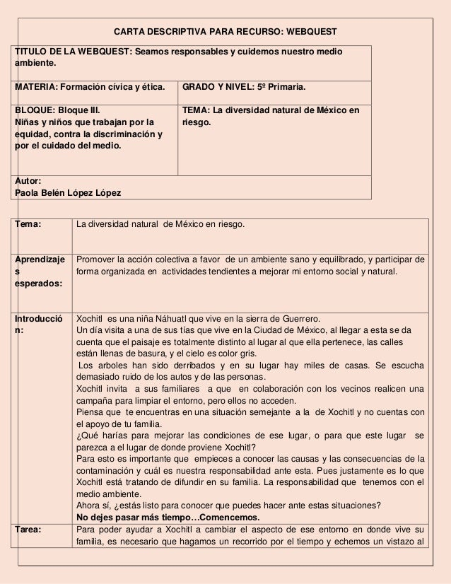 Carta descriptiva webquest paola