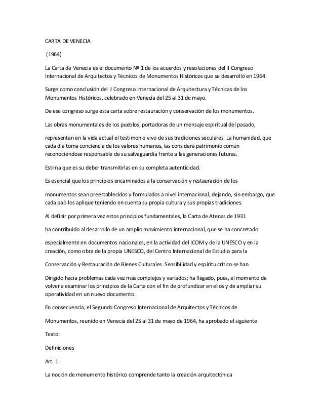 Carta de venecia resumen