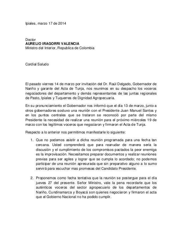 Carta de voceros de Dignidad Agropecuaria Nariño a Ministro del Interior