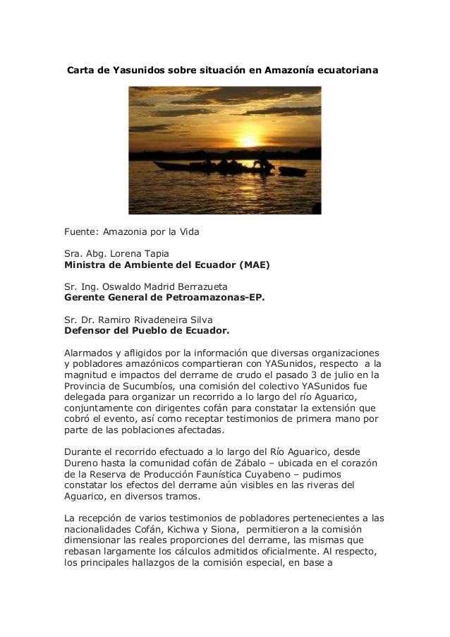 Carta de yasunidos sobre situación en amazonía ecuatoriana
