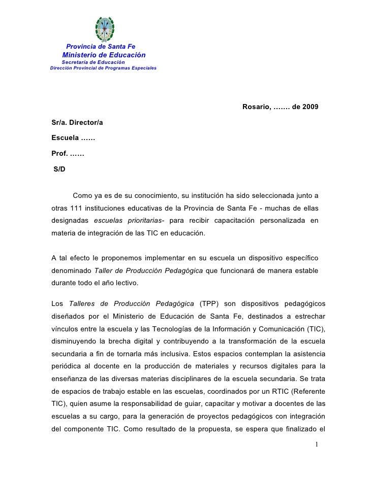 Provincia de Santa Fe     Ministerio de Educación     Secretaría de Educación Dirección Provincial de Programas Especiales...