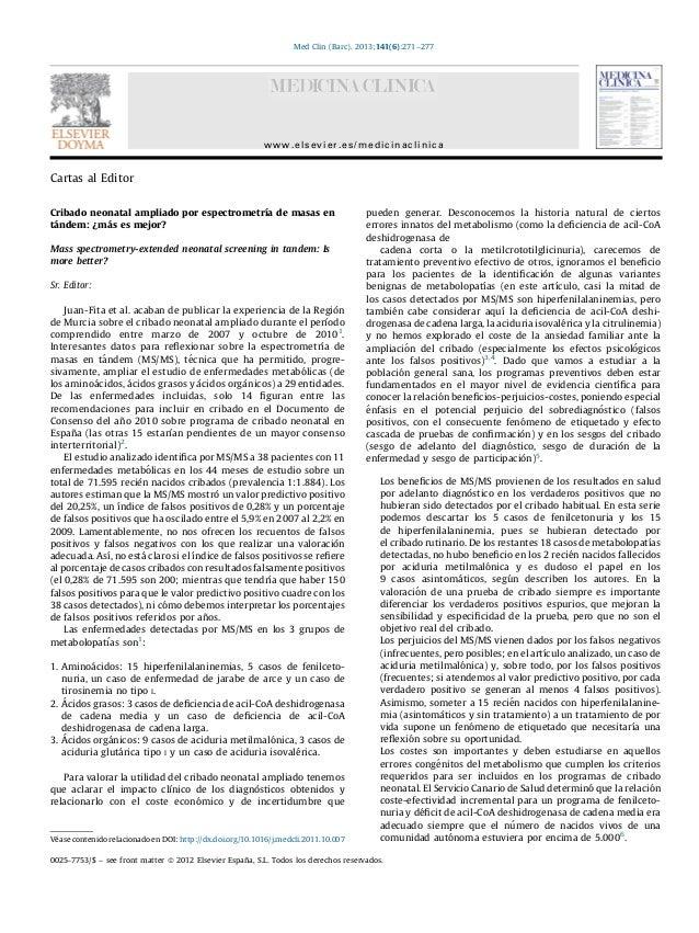 Carta director cribado espectrometria de masas (med clin2013)