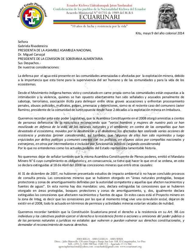Carta ECUARUNARI a Asamblea Nacional en defensa del agua y apoyo a resistencia contra minería