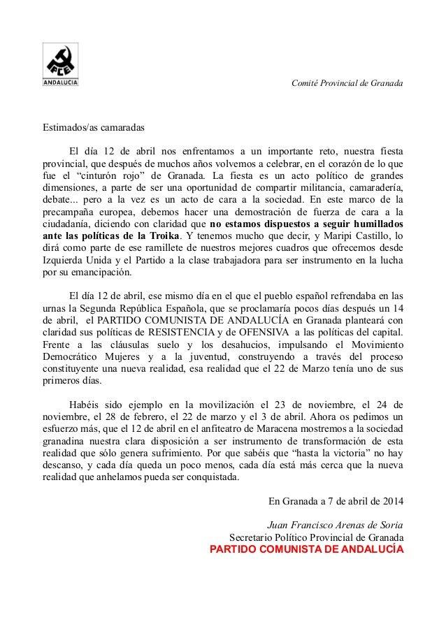 Comité Provincial de Granada Estimados/as camaradas El día 12 de abril nos enfrentamos a un importante reto, nuestra fiest...