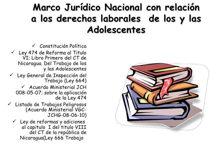 Marco Jurídico Nacional con relación a los derechos laborales  de los y las Adolescentes   <ul><li>Constitución Política <...