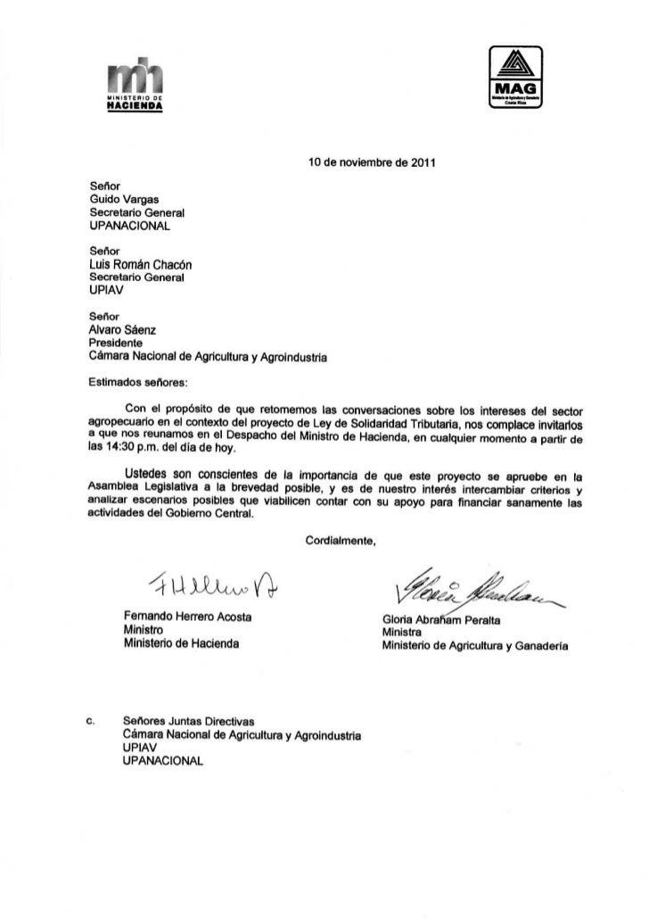 Nota enviada al sector agropecuario para continuar con el diálogo en torno al Proyecto de Solidaridad Tributaria