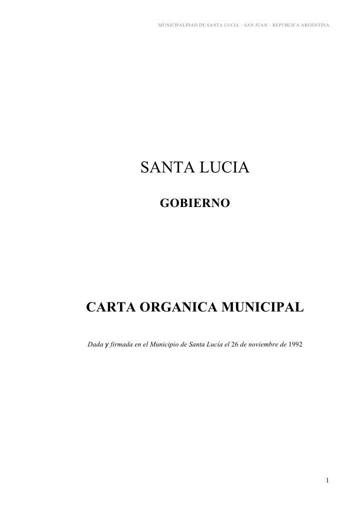 Carta Orgánica Municipalidad Santa Lucía