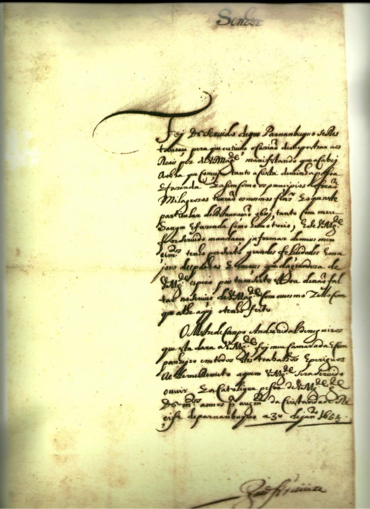 Carta original de joão fernandes vieira anuciando a recaptura de pernambuco em 30 de janeiro de 1654