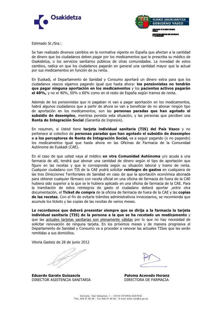 Carta a los pacientes de Osakidetza sobre el pago de los medicamentos.