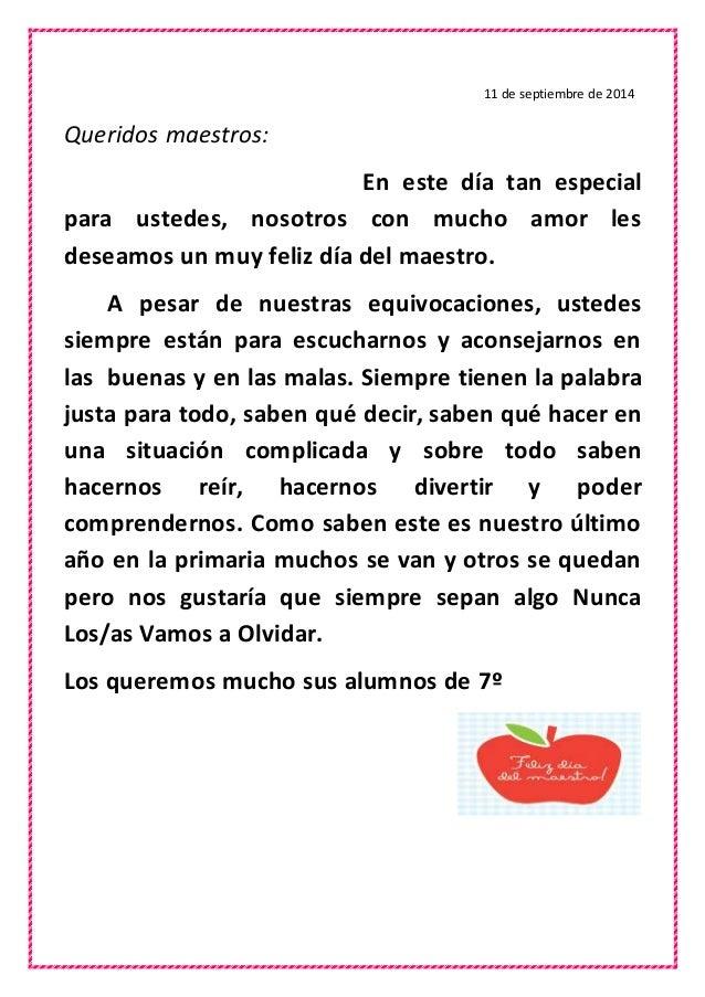 Carta para los maestros