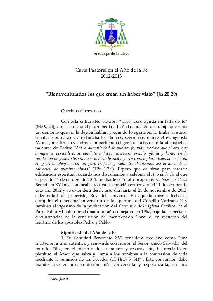 Carta Pastoral de nuestro Arzobispo con motivo del Año de la Fe