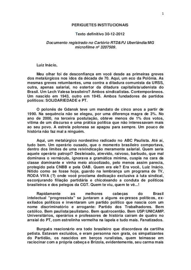 Carta pessoal de Martha de Freitas Azevedo Pannunzio, criticando a vida política de Lula
