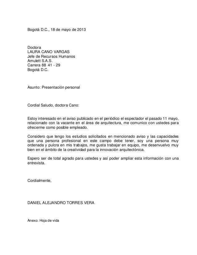 Carta de presentaci n arquitecto for Estudio de arquitectura en ingles