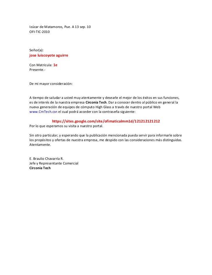 Izúcar de Matamoros, Pue. A 13 sep. 10OFI-TIC-2010Señor(a):jose luiscoyote aguirreCon Matricula: 1ePresente.-De mi mayor c...