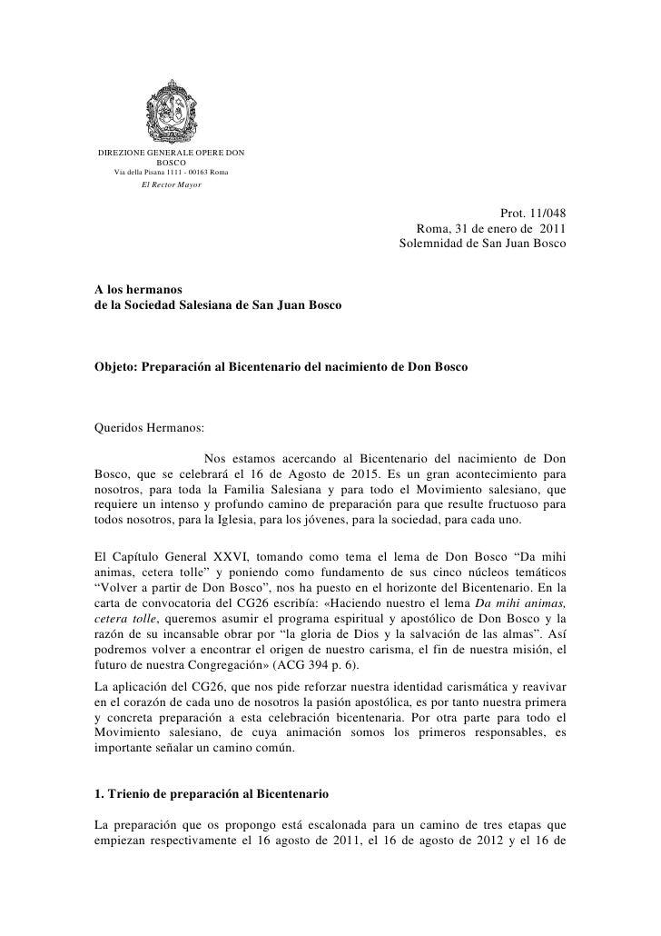 DIREZIONE GENERALE OPERE DON            BOSCO   Via della Pisana 1111 - 00163 Roma           El Rector Mayor              ...