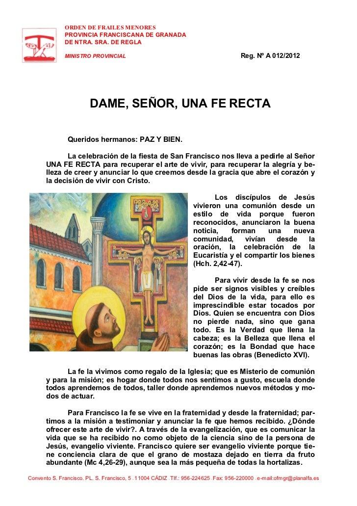 ORDEN DE FRAILES MENORES               PROVINCIA FRANCISCANA DE GRANADA               DE NTRA. SRA. DE REGLA              ...