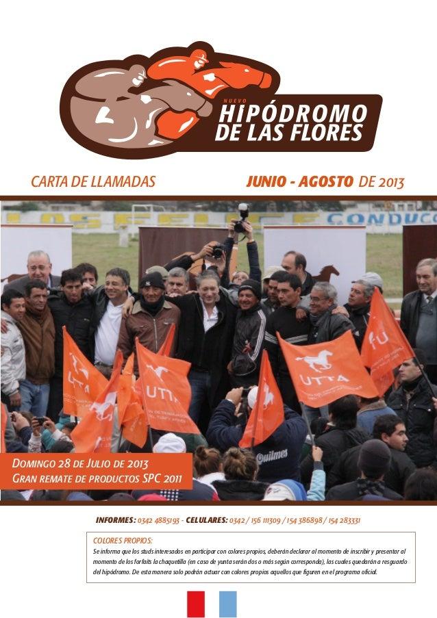 CARTA DE LLAMADAS JUNIO - AGOSTO DE 2013INFORMES: 0342 4885193 - CELULARES: 0342 / 156 111309 / 154 386898 / 154 283331COL...