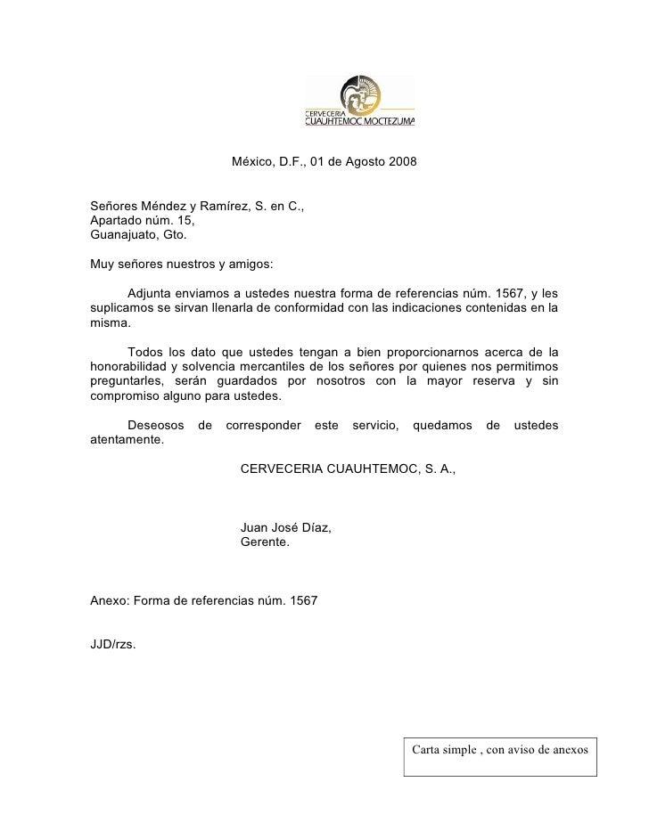 Carta simple con aviso de anexos