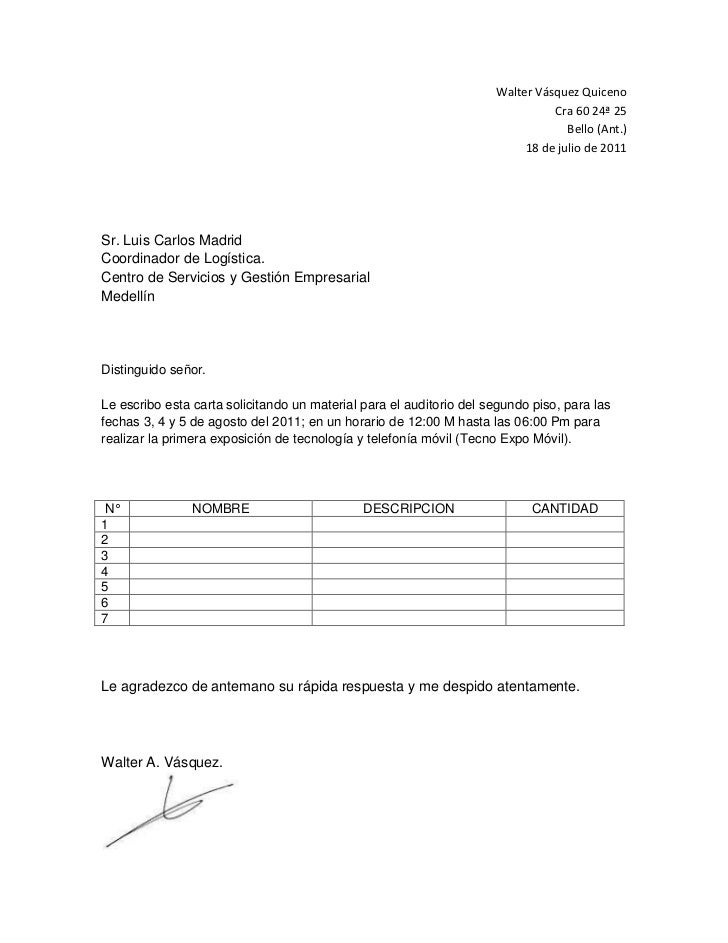 Carta solicitud material