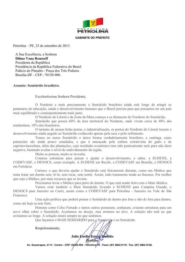 Carta de Lóssio a presidenta Dilma