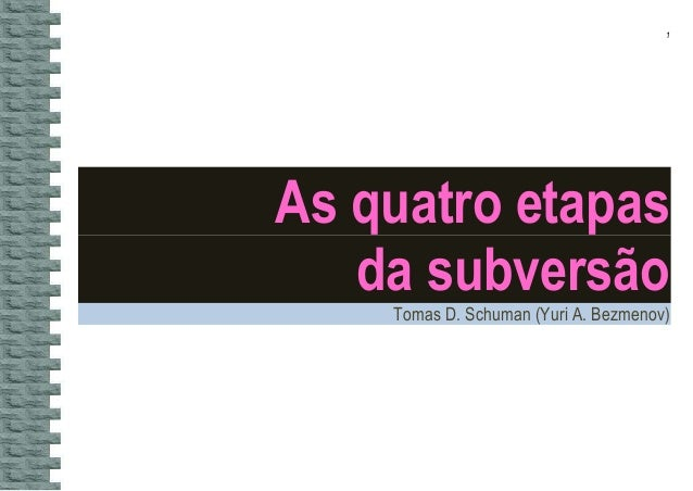 1 As quatro etapas da subversão Tomas D. Schuman (Yuri A. Bezmenov)