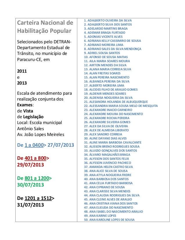 Carteira Nacional de Habilitação Popular Selecionados pelo DETRAN- Departamento Estadual de Trânsito, no município de Para...