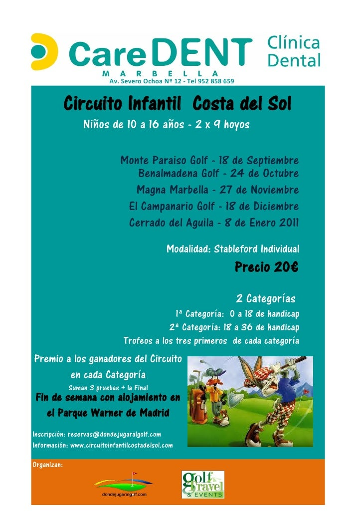 Cartel circuito infantil de golf Costa del Sol