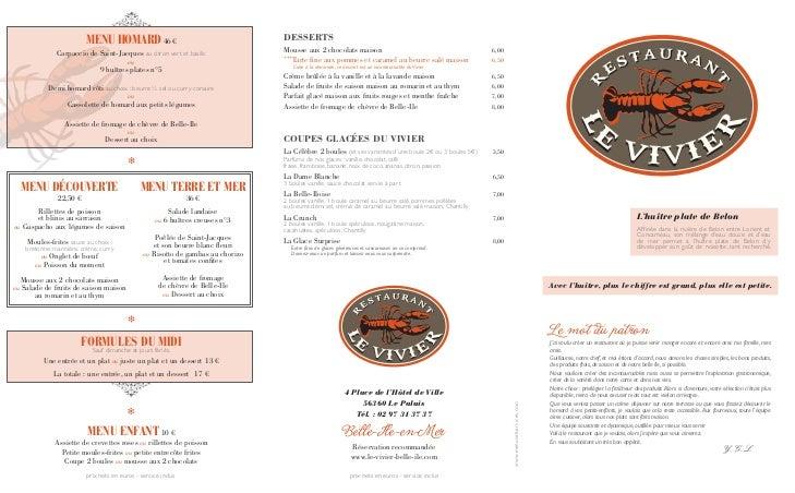 Carte restaurant Le Vivier - Belle-Ile en Mer - Eté 2012