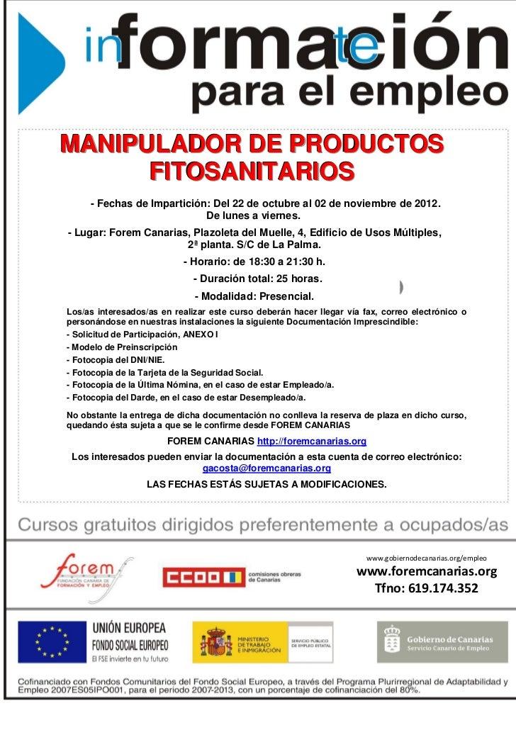 Cartel manipulador productos fitosanitarios 2012