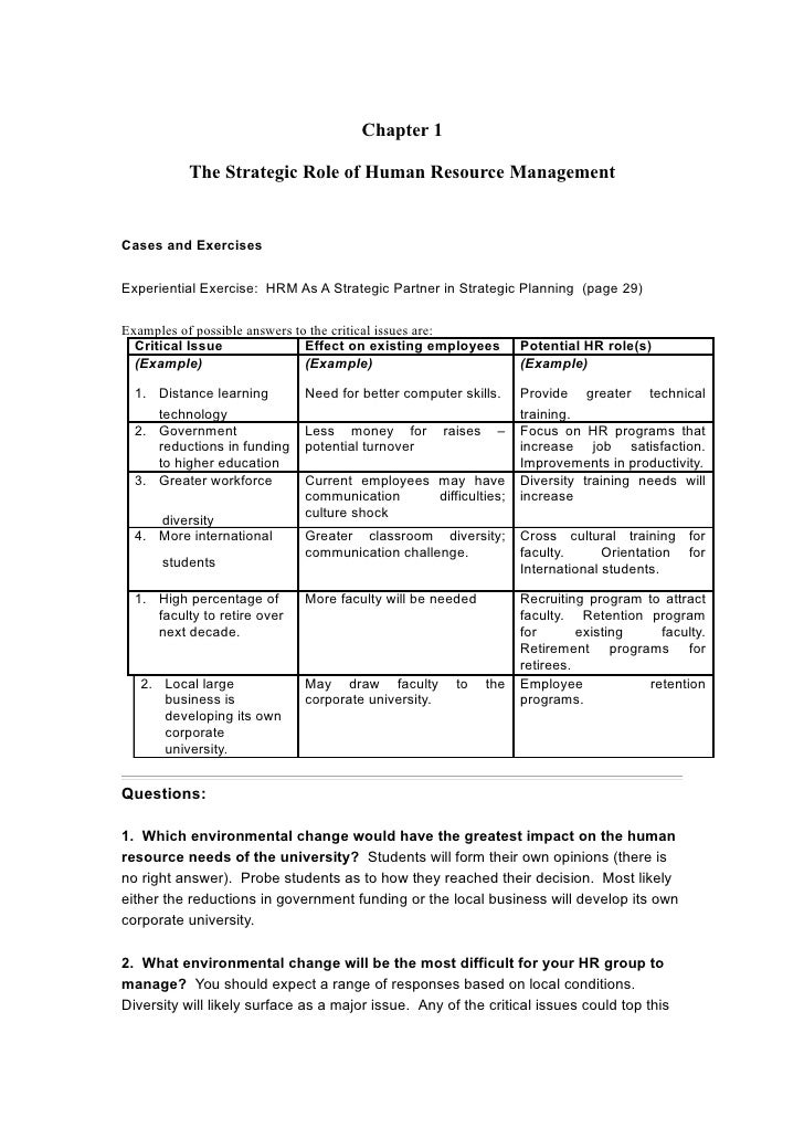Chapter 1           The Strategic Role of Human Resource ManagementCases and ExercisesExperiential Exercise: HRM As A Stra...