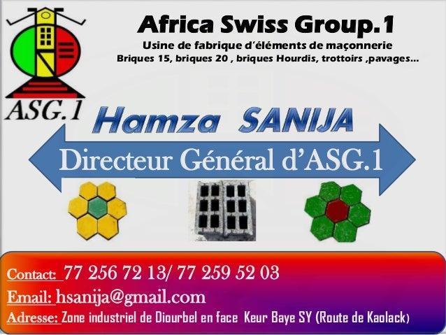 Africa Swiss Group.1 Usine de fabrique d'éléments de maçonnerie Briques 15, briques 20 , briques Hourdis, trottoirs ,pavag...