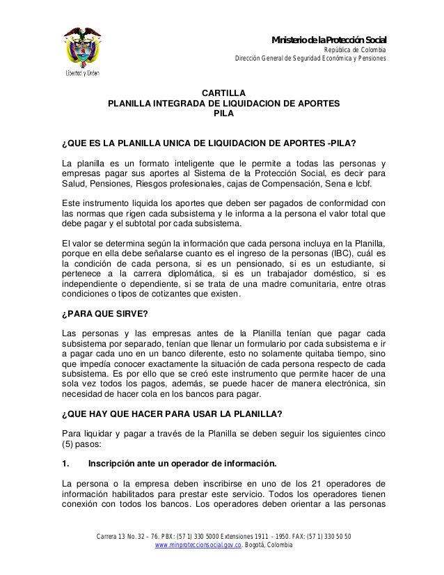 Ministerio de la Protección Social  República de Colombia Dirección General de Seguridad Económica y Pensiones  CARTILLA P...