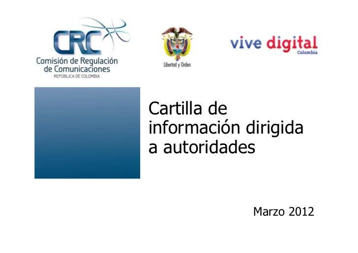 Cartilla deinformación dirigidaa autoridades             Marzo 2012