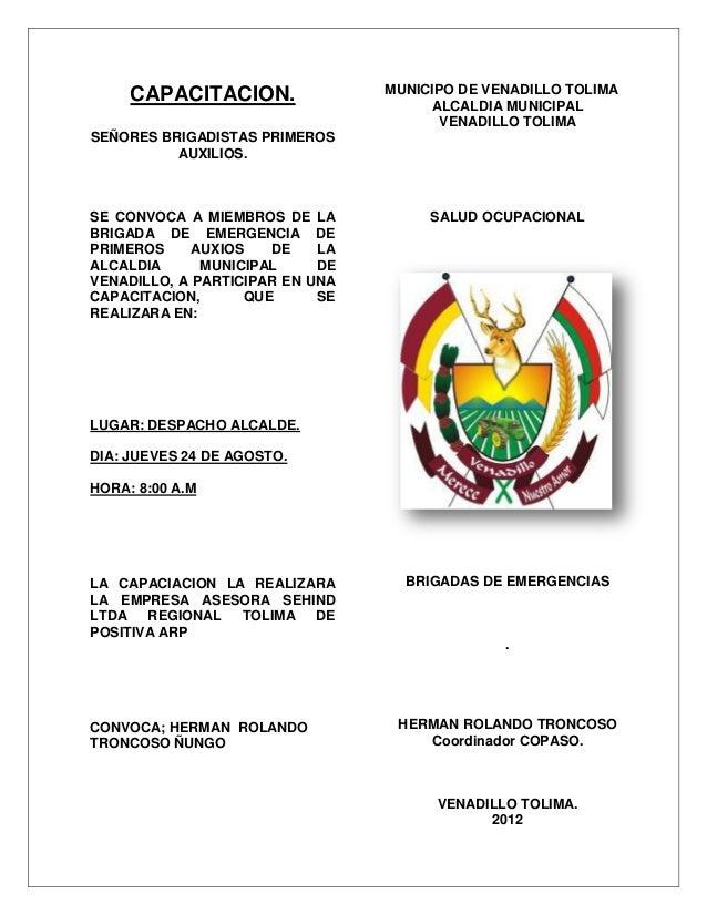CAPACITACION.               MUNICIPO DE VENADILLO TOLIMA                                      ALCALDIA MUNICIPAL          ...