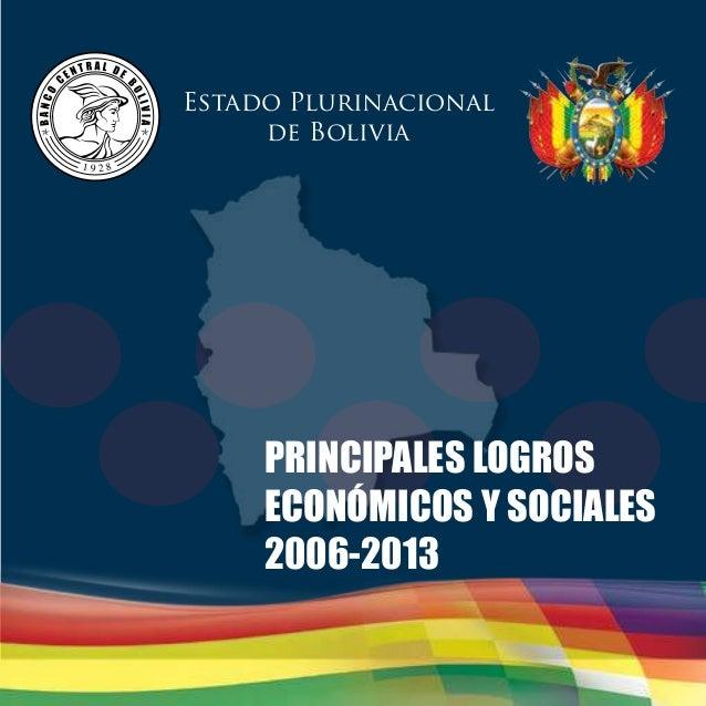 Estado Plurinacional  de Bolivia  PRINCIPALES LOGROS  ECONÓMICOS Y SOCIALES  2006-2013