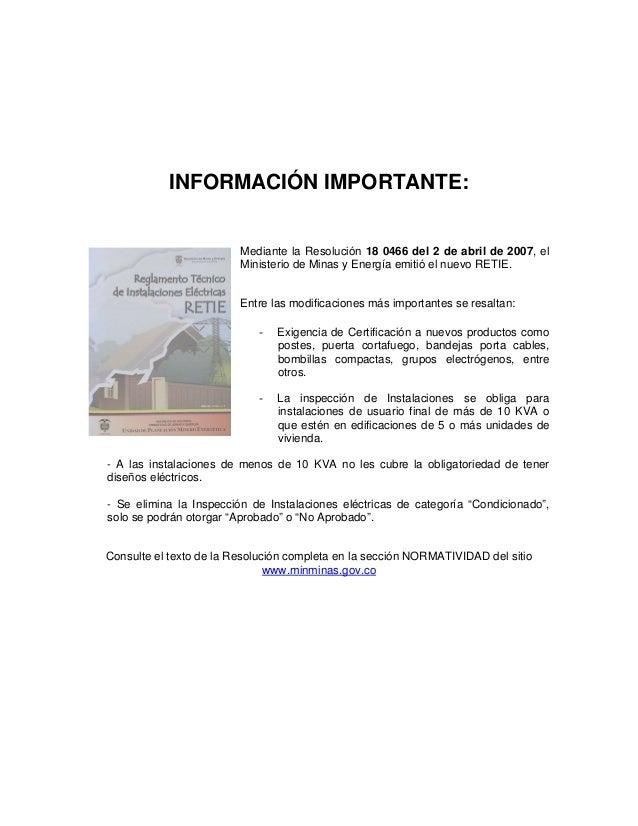 Cartilla retie ministerio de minas y energia colombia for Ministerio de minas