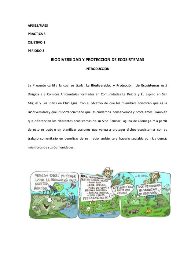 APSIES/FIAES PRACTICA 5 OBJETIVO 1 PERIODO 3  BIODIVERSIDAD Y PROTECCION DE ECOSISTEMAS INTRODUCCION  La Presente cartilla...