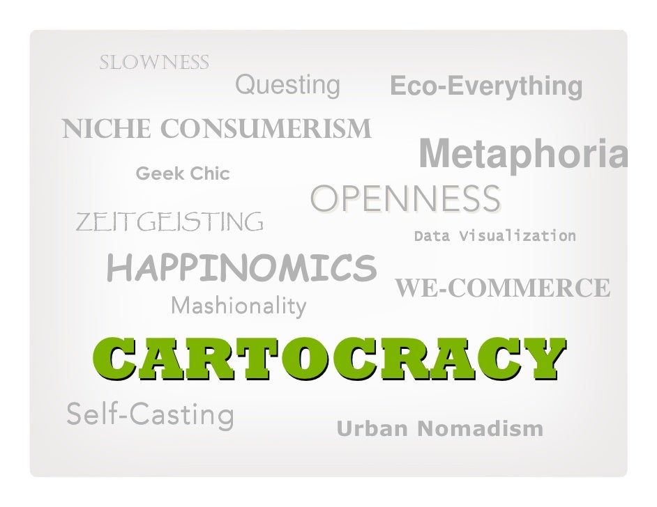 SLOWNESS                 Questing   Eco-Everything NICHE CONSUMERISM     Geek Chic                              Metaphoria...