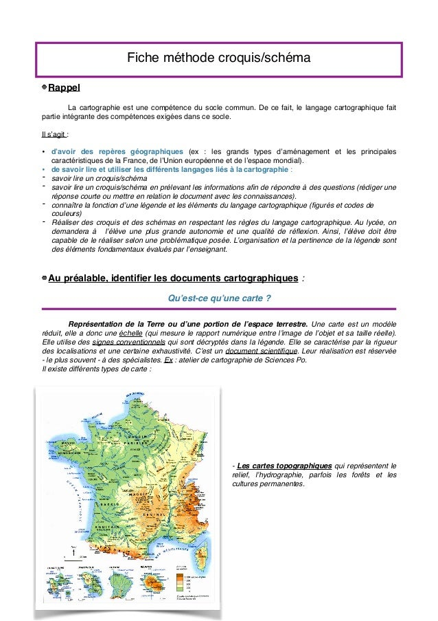 Fiche méthode croquis/schéma Rappel La cartographie est une compétence du socle commun. De ce fait, le langage cartographi...