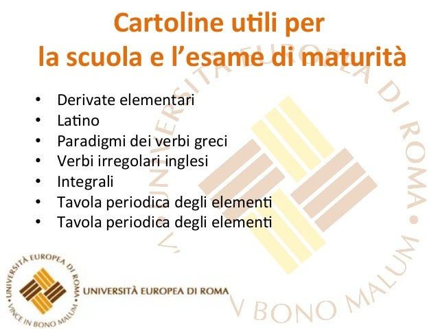 Cartoline u,li per  la scuola e l'esame di maturità • Derivate elementari • La-no • Paradigmi...
