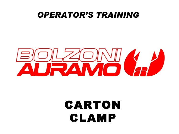 OPERATOR'S TRAINING CARTON CLAMP