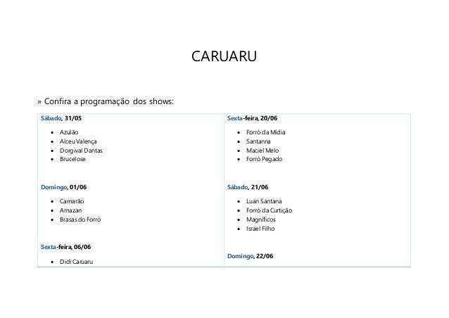 Programação do São João de Caruaru